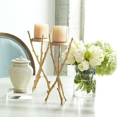 Wisteria - Accessories - Candles & Candleholders - Gilt Faux Bois Candleholder
