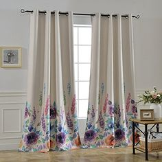 """DriftAway Isabella Embroidered Room Darkening Window Curtain, Embroidered Crafted Flower, Lined with Thermal Insulated Fabric, Faux Silk, Single Panel, 50""""x84"""" (Blue)"""