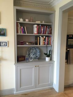 Bespoke Ed Alcove Unit Traditional Dresser Style With Book Shelves And Panelled Door Cupboards For A Living Room Or Dining