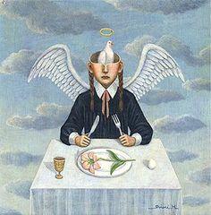 Matsumoto Shiori - 羽化のための食事 MEAL FOR HATCH (1999) 17.5×17.5㎝, Acrylic on board