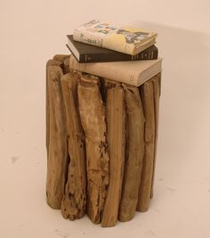 Woody Branches Round Reclaimed Teak Wood Stool End Table, Natural