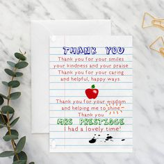 Teacher Thank You Poem Card by Giddy Kipper, the perfect gift for Explore more unique gifts in our curated marketplace. Thank You Poems For Teachers, Teacher Thank You Notes, Thanks Teacher, Teachers Day Card, Presents For Teachers, Teacher Cards, Thank U Cards, Thank You Gifts, Teacher Appreciation Poems
