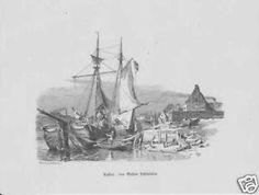 Kuffen - cabotage maritime en mer du Nord, gravure sur bois -v- 1880