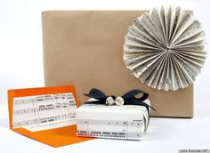 Gift wrapping with sheet music