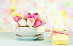 Wallpapers on desktop. Wallpaper flowers, flowers, cup, box, bouquet, gift, Cup, tulips, gift, tulips, saucer, pink, bouquet, box, pink to download.