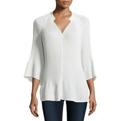 Neiman Marcus Flowing Pleated Bell-Sleeve Blouse ($34) ❤ liked on Polyvore featuring tops, blouses, ivory, asymmetrical top, kaftan tops, chiffon top, bell sleeve top and asymmetrical blouse