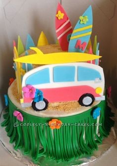 Coolest Beach Movie Luau Themed Cake... Coolest Birthday Cake Ideas