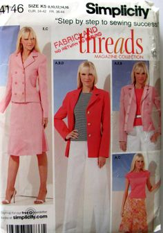 Simplicity 4146, Misses Petite Skirt, Pants, Lined Jackets and Knit Top Sewing Pattern, Sizes 8, 10, 12, 14 and 16, Uncut by OnceUponAnHeirloom on Etsy