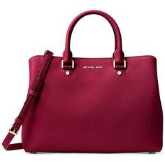 Michael Michael Kors Savannah Large Satchel (9 585 UAH) ❤ liked on Polyvore featuring bags, handbags, cherry, purple satchel, saffiano leather handbags, structured satchel, satchel handbags and pocket purse