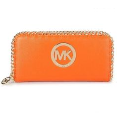 Michael Kors Oversize Saffiano Leather Metallic Large Orange Wallets