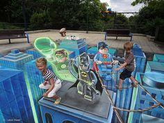 Lego Superheros 3D street art