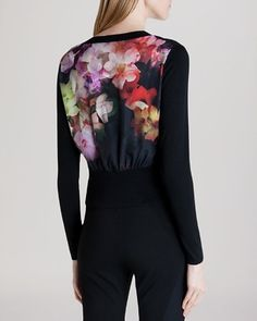 Ted Baker Cascading Floral Cardigan - professional fashion - office style #commandress