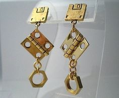 Nuts industrial hardware earrings by TimeAndMaterials on Etsy Hardware Jewelry, Industrial Hardware, Floppy Disk, Find Objects, Solid Brass, Etsy Earrings, Bubbles, Jewelry Making, Square Earrings