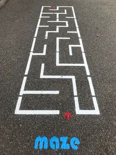 Sidewalk Maze | Fast Line Outside Activities, Summer Activities, Preschool Activities, Playground Painting, Playground Games, Outdoor Learning, Kids Learning, School Painting, Sidewalk Chalk Art