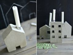 Concrete house candle holders