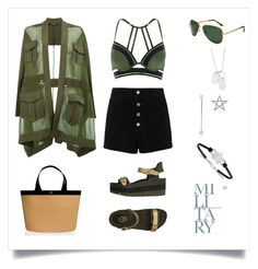 """Military Style"" by marinaova ❤ liked on Polyvore featuring Balmain, rag & bone/JEAN, River Island, Ash, Eric Javits, LogoArt, Summer, chic, summertime and military"