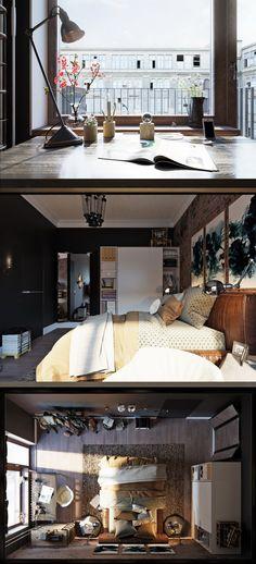 Холостяцкая спальня в тёмных тонах - Галерея 3ddd.ru