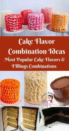 Pairing the right cake flavors with the right filling and frosting can be critical to the success in some recipes. These Cake Flavor Combinations are a great guide to have on hand when you wondering…More Unique Birthday Cakes, Birthday Cake Flavors, Cupcake Flavors, Wedding Cake Flavors, Unique Cakes, Cake Birthday, Wedding Cake Fillings, Birthday Crafts, Fillings For Cakes