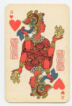"""psychedelicately: """" thinkmexican: """" Soviet Mayan Playing Cards Who knew? Soviet Russia had a thing for the Mayans. Apparently, these Mayan-themed playing cards were. Playing Cards Art, Vintage Playing Cards, Ace Of Hearts, Card Tattoo, Arte Popular, Red Queen, Oracle Cards, Heart Art, Art Design"""