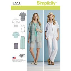 misses' and miss plus sportswear pattern includes short sleeve button down with…
