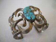 Vintage NAVAJO SandCast Sterling Silver & TURQUOISE Cuff BRACELET, size Small.  TurquoiseKachina, $296.10