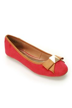 Bamboo Alive-05 Contrast Piping Ballet Flat In Red