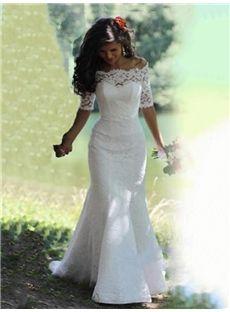 Lace Off-The-Shoulder Half Sleeve Trumpet/Mermaid Wedding Dress