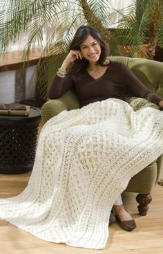Lattice Weave Throw Crochet Pattern ~ When you take the time to crochet this wonderful throw as a gift you can be assured that it will be treasured and handed down. Made in classic white or any one color it adds texture to a comfortable sofa or chair.