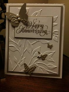 Beautiful Wings - Anniversary card by - Cards and Paper Crafts at Splitcoaststampers - Informationen zu Beautiful Wings – Anniversary card by – Cards and Paper Crafts at - Aniversary Cards, 50th Anniversary Cards, Handmade Anniversary Cards, Anniversary Ideas, Engagement Cards, Embossed Cards, Birthday Cards, Birthday Quotes, Sister Birthday