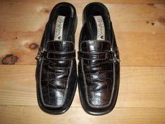 Brighton Woman's Shoes Black Pumps Slip-On Croc Heels Size 7 M #Brighton #LoafersMoccasins
