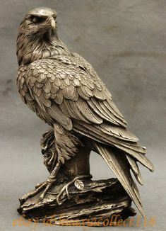 """Online Shop 9"""" Chinese Fengshui Silver Carving Hawk Eagle King Birds Animal Statue Sculpture Medicine copper Decoration real Brass 