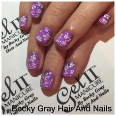 Gel II manicure orchid with magpie glitter violet and moyou london stamping