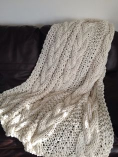 Cable Knit Chunky Blanket 15 Color Options Made to Order