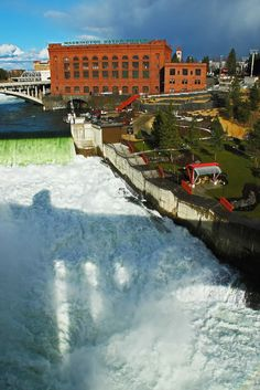 The Shadow Knows by Donald Sewell on Capture Inland Northwest // Monroe Street Bridge casts it's shadow on Spokane Falls on the first day of Spring 2014.  Print ID #D032014Falls32V