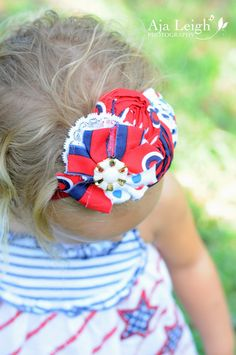 red white blue flower headband for babies by LittleHatchlings, $16.50