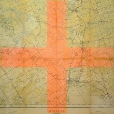 Map Christine Flynn (2013) vintage topographic map with mixed media and resin finish 24in × 30in × 1in Current Bid: $1200.00  #Toronto #art ARTBOMB: BUY WHAT YOU LOVE