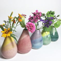 Little Garden Pottery : My first little bud vases made in my new ceramics studio :) Inspired by botanical and floral design, as well as simple functional clay forms.