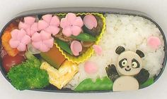 桃の花とパンダ弁当 桃の花-飾り切り | happy panda under peach blossoms | bento by Mari Miyazawa @ e-obento