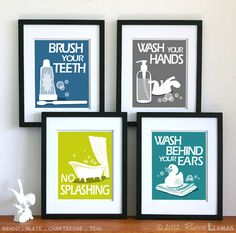 Bathroom Art Prints Wash Your Hands Brush Your by PaperLlamas