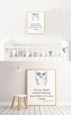 Bible Verse Kids Nursery Printable with Elephant Watercolor Character ☆ Beautiful Nursery Decor. Bible Verses For Kids, Christian Wall Decor, Cute Elephant, Nursery Wall Decor, Elephant Watercolor, Ecclesiastes 3, Printables, Lettering, Nurseries