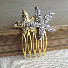 Starfish hair comb gold Beach Wedding hair by PrettyBabyMillinery, $26.00