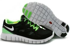 Mens Nike Free Run+ 2 Shoes Black Fluorescent Green