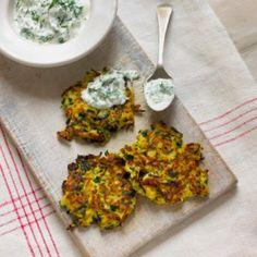 Indian Summer Vegan Zucchini Fritters and Yogurt Sauce