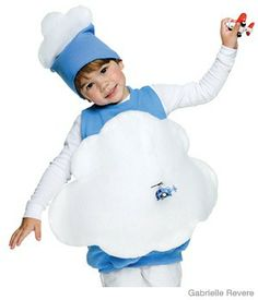 """For this costume, you'll need:      Oversize pale-blue sweatshirt  Fabric glue  1/2 yd white felt  1 yd batting  8"""" piece string  Large needle    1. Cut sleeves off shirt 3"""" from neck; glue under raw edges.    2. From felt, cut out two cloud shapes large enough to cover shirt. Glue each to top of batting, then trim to size. Glue clouds to front and back of shirt, felt side down.    3. Make hat: Cut one sleeve 6"""" down from top. Glue under raw edges"""