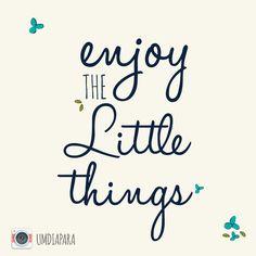 Aproveite as pequenas coisas :)