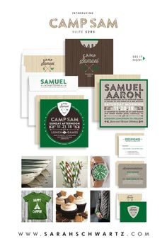 Supercool new retro camp-themed Bar Mitzvah Invitation in green, brown and khaki from http://www.sarahschwartz.com/blog Suite 5285 Camp Sam in green