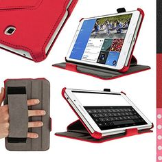 "iGadgitz Premium Executive Red PU Leather Case Cover for Samsung Galaxy Tab 4 8.0"" SM-T330 with Multi-Angle Viewing Stand + Hand Strap + Auto Sleep/Wake + Screen Protector igadgitz http://www.amazon.ca/dp/B00LB25F74/ref=cm_sw_r_pi_dp_wxvGub0PYKV9P"