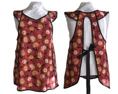 Plus Size Apron Dark red with Creamy by timelessaprons on Etsy