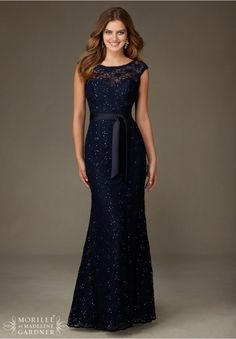 Bridesmaids Dresses Beaded Lace Matching Tie Sash included. Available in all Mori Lee Solid Lace Bridesmaids colors.