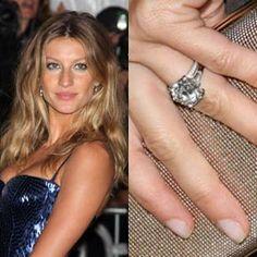 Gisele Bundchen has an estimated 4 carat round brilliant cut diamond. https://www.facebook.com/SpitzJewelers